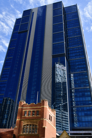 Australia, Perth, modern skyscraper behind old town hall