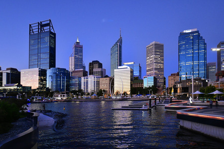 Australia, Perth, night scene with skylinefrom  Elizabeth Quay on Swan River Editorial