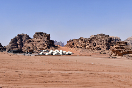 Jordan, camp with modern tents in the phantastic scenery of Wadi Rum