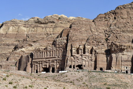 Jordan, Royal tombs in ancient Petra, a UNESCO World Heritage site in Middle East