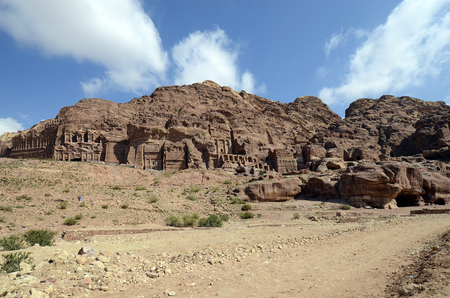 Jordan, Royal tombs in ancient Petra, a UNESCO World Heritage site in Middle East Standard-Bild - 120522876