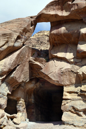 Jordan, rock formation and cave in ancient Petra, a UNESCO World Heritage site in Middle East