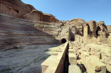 Jordan, amphietheater in ancient Petra, a UNESCO World Heritage site in Middle East