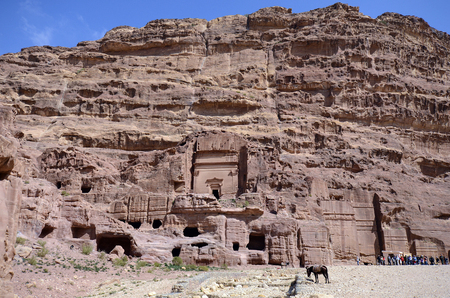 Petra, Jordan - March 06, 2019: Unidentified people in ancient Petra, a Unesco World Heritage site and preferred tourist attraction in Middle East Editorial