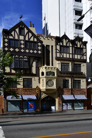 Perth, WA, Australia - November 29, 2017: London Court building, a preferred old arcade with shops, cafe and restaurants