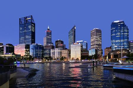 Perth, WA, Australia - November 30, 2017: Night scene with skyline on Elizabeth Quay on Swan River