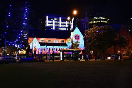 Perth, WA, Australia - November 30, 2017: Illuminated St. George cathedral at Christmas time in the capital of Western Australia