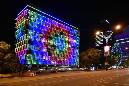 Perth, WA, Australia - November 30, 2017: Illuminated council house at Christmas time in the capital of Western Australia