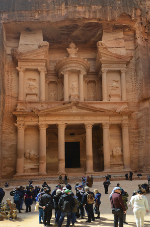 Petra, Jordan - March 06, 2019: Unidentified tourists in ancient Petra, a Unesco World Heritage site