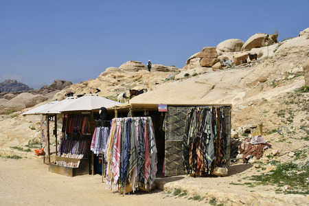 Petra, Jordan - March 06, 2019: Kiosk on way to archeological site of ancient Petra