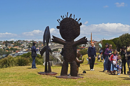Sydney, NSW, Australia - October 31,2017: Sculpture by the Sea - a yearly public outdoor exhibtion along the coast between Tamarama and Bondi beach