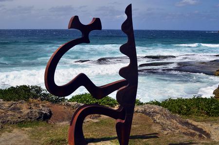 Sydney, NSW, Australia - October 31,2017: Sculpture by the sea - an outdoor exhibtion along the coast at Bondi, artwork named Fragments made by artist Tim Macfarlane Reid Sajtókép