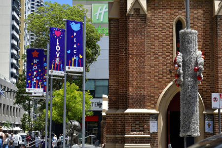Perth, WA, Australia - November 30, 2017: Christmas decoration in front of Wesley Uniting church in the capital of Western Australia Editorial