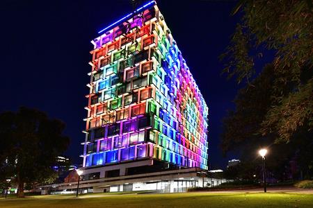 Perth, WA, Australia - November 30, 2017: Council House - illuminated during Christmas time Editorial