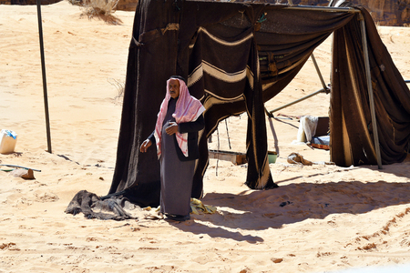Wadi Rum, Jordan - March 07, 2019: Unidentified Bedouin in traditional clothing in the Middle East