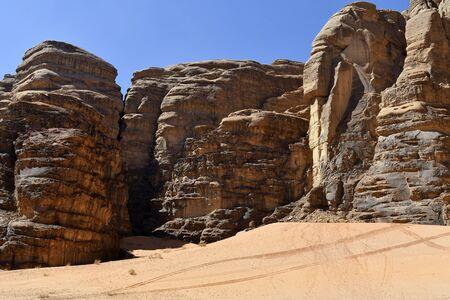 Jordan, Wadi Rum, rock formation in Middle East 版權商用圖片