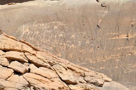 Jordan, Wadi Rum, Anfashieh inscriptions - rock gravings in  Middle East