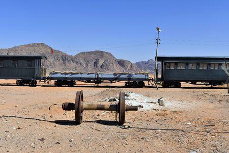 Jordan, nostalgic railway waggon with former machine gun defence position in Wadi Rum station