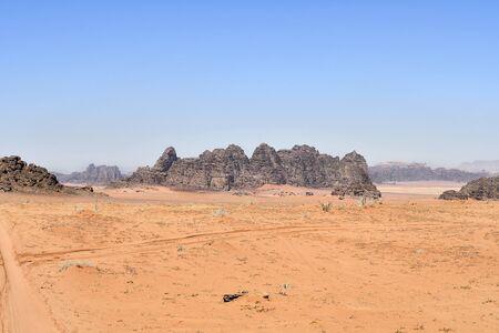 Jordan, Wadi Rum, desert landscape in in Middle East