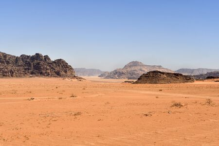 Jordan, Wadi Rum, arid landscape  in Middle East 版權商用圖片