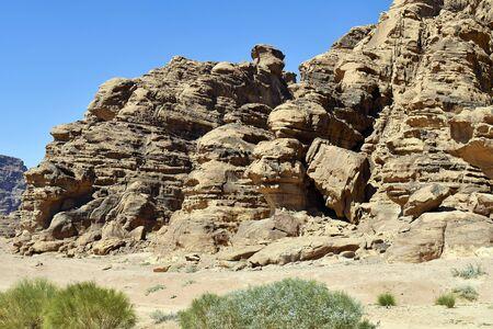 Jordan, Wadi Rum, arid landscape in in Middle East