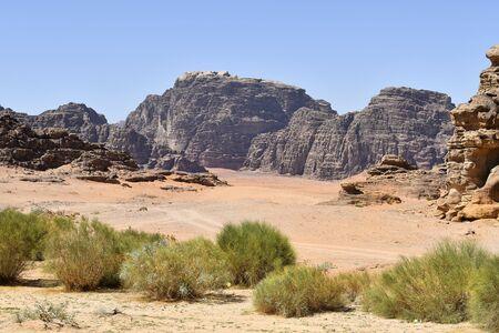 Jordan, Wadi Rum, arid landscape in  Middle East