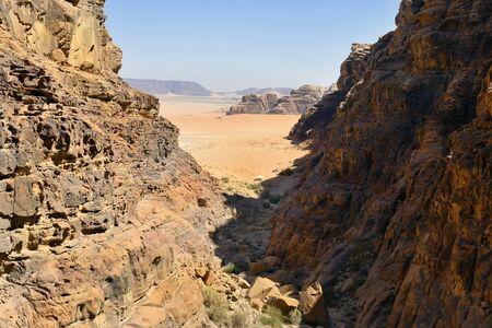 Jordan, Wadi Rum, arid landscape and camels  in Middle East