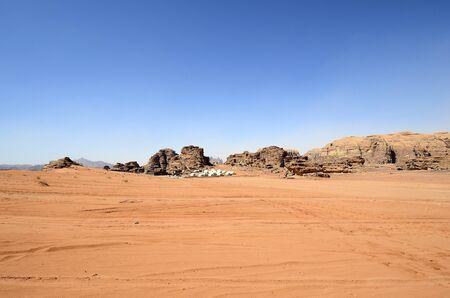 Jordan, Wadi Rum, futuristic looking tourist camp in Middle East