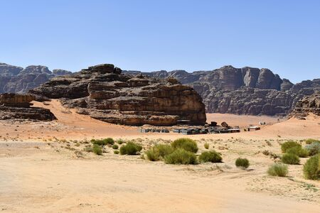 Jordan, Wadi Rum, tents of a tourist camp  in Middle East Reklamní fotografie