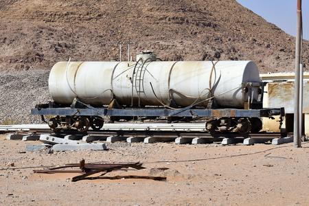 Jordan, old tank wagon in Wadi Rum station