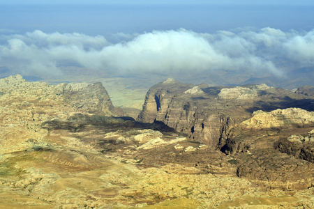 Jordan, arid landscape in Masuda proposed reserve with Jordan valley in background Stok Fotoğraf