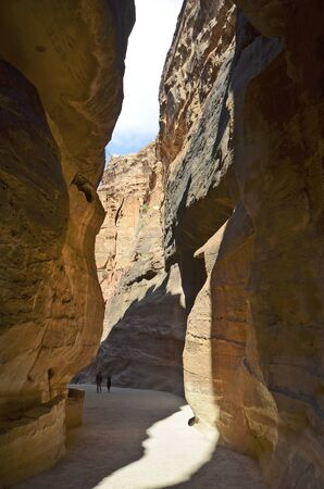 Petra, Jordan - March 06, 2019: Unidentified tourists in canyon named the Siq