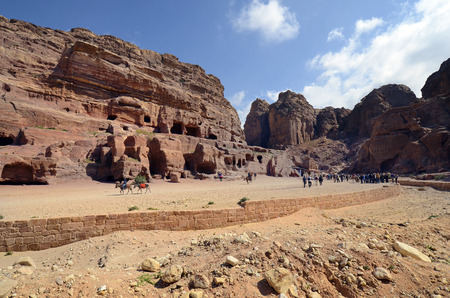 Petra, Jordan - March 06, 2019: Unidentified people at UNESCO World heritage site of ancient Petra