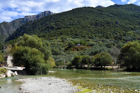 Greece, the springs of Acheron river at Glyki village, preferred destination for watersport and hiking in the mountains of Epirus county