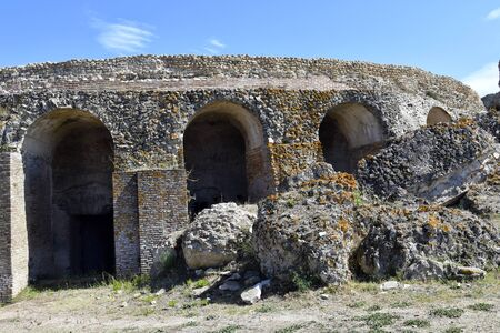 Greece, Epirus, Roman Odeion in ancient site of Nikopolis near Preveza 版權商用圖片