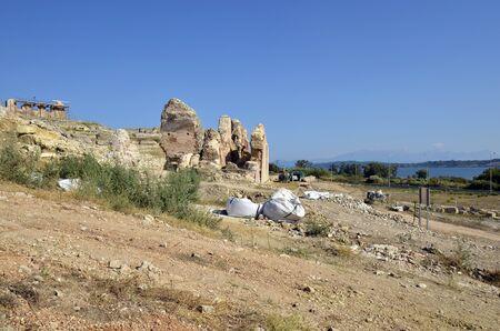 Greece, Epirus, amphitheater in ancient site of Nikopolis near Preveza and Ambracian Gulf in background 版權商用圖片