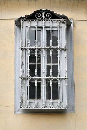 Greece, Ioannina, barred window 版權商用圖片