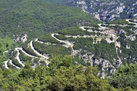 Greece, Epirus, winding mountain road to Papingo village in Pindos-Aoos national aprk