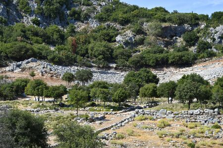 Greece, ruins of archaeological site of ancient Kassope aka Cassope, built in 4th century BC in the mountains of Zalongo,