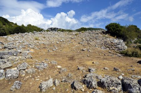 Greece, ruins of former Bouleuterion in archaeological site of ancient Kassope aka Cassope, built in 4th century BC in the mountains of Zalongo,