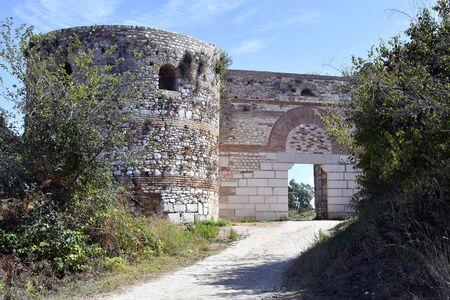 Greece, Epirus, fortified wall with tower of ancient site of Nikopolis aka Nicopolis near Preveza