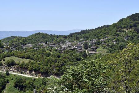 Greece, Epirus, homes built in traditional style in mountain village Papingo aka Papigo in Vikos-Aoos National Park