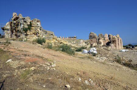 Greece, Epirus, amphitheater in ancient site of Nikopolis near Preveza 版權商用圖片