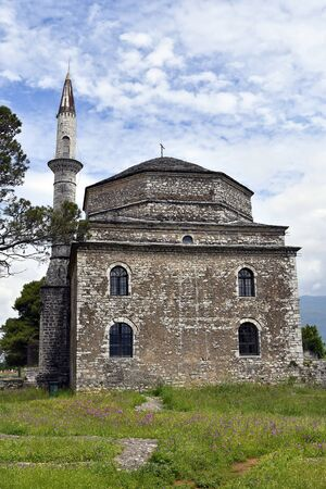 Greece, Ioannina, Fethiye mosque with minaret situated in the medieval fortress of the capital in Epirus 版權商用圖片