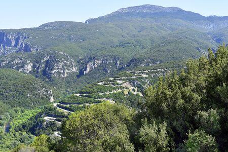 Greece, Epirus, winding mountain road to Papingo village in national park of Tzoumerka, Peristeri, Arachtos and Acheloos valley