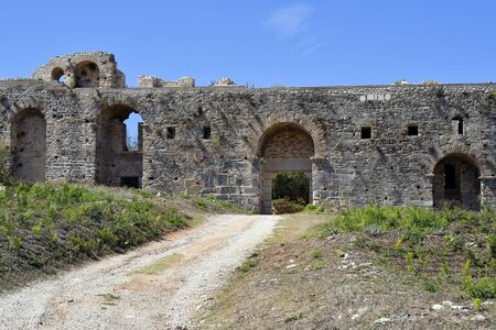 Greece, Epirus, fortified wall and gate in ancient site of Nikopolis near Preveza