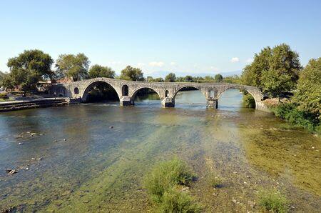 Greece, ancient bridge of Arta crossing Arachthos river