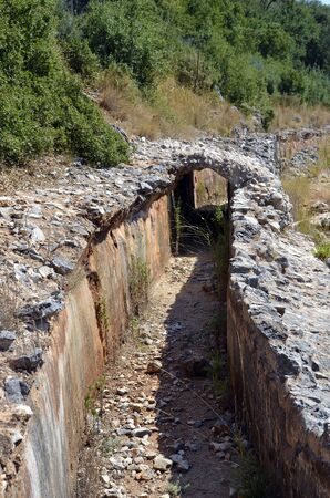Greece, Epirus, conduit of Roman aqueduct of ancient Nikopolis near Filippiada on Louros river, built in 1st century B.C. to carry water from the mountains to Preveza