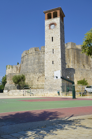 Greece, Arta, bell tower and medieval fortress behind,