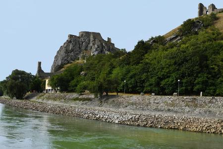 Slovakia, medieval castle Devin at  Danube river on the border to Austria 新聞圖片